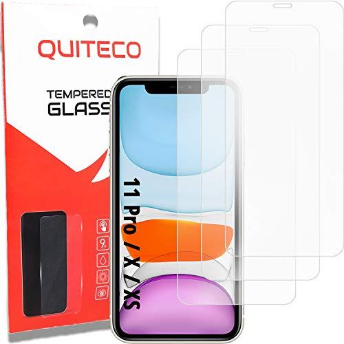 3 Pezzi, Vetro Temperato Compatibile con iPhone 11 PRO e iPhone X e iPhone XS, Pellicola Prottetiva Anti Graffio, Anti-Impronte, Durezza 9H, 0,26mm Ultra Trasparente, Ultra Resistente