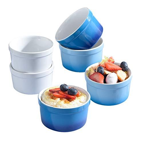 KVV Ceramics Ramekin Set Of 6 (6oz/ 200ml) Porcelain Souffle Dish Ramekins for Creme Brulee Pudding Oven Safe, Classic Style Ramekins Bowls for Baking White Blue(Mix set of 6)