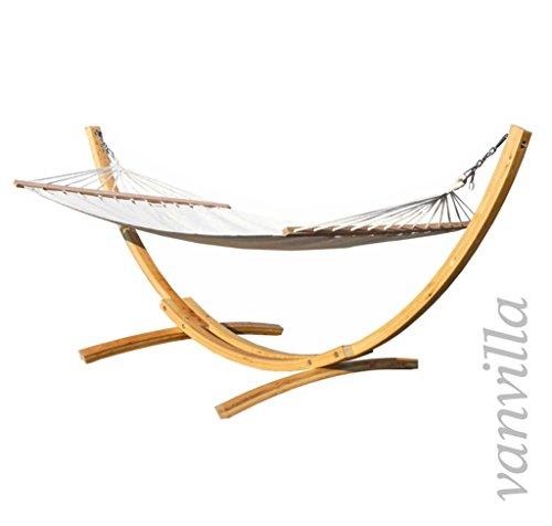 vanvilla Hängematte mit Gestell aus Lärche Lagarde 340cm x 120cm, Hängematte naturfarben, verzinkte Stahlteile, Holz Naturfarben, Hängemattengestell Holz