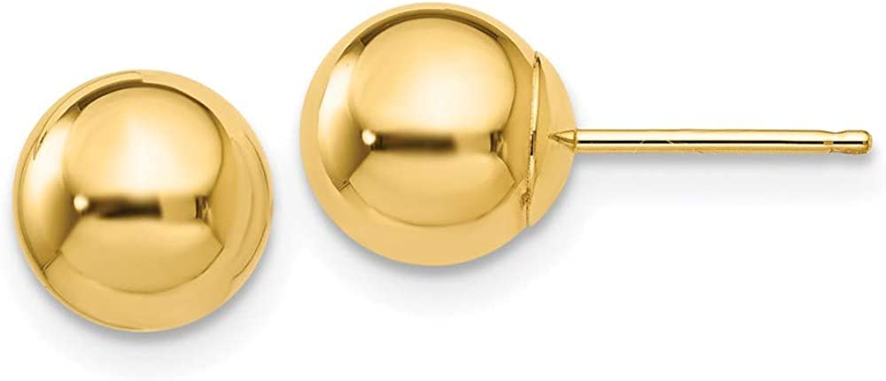 14k Polished 7mm Ball Post Earrings 7mm 7mm style X7MMG