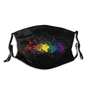 Arcobaleno Lgbt Pride – Passamontagna unisex con filtro, maschera per il viso con pulso cardiaco e lgbt, lavabile e riutilizzabile, con filtro, colore nero, riutilizzabile, taglia M