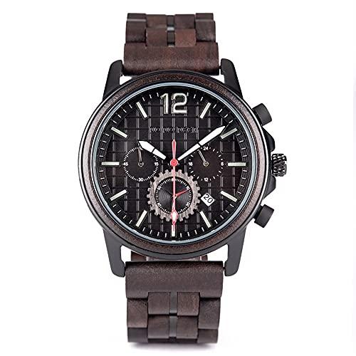 yuyan Reloj Deportivo Comercial for Hombres Ebony Designer Hecho a Mano Japón de Cuarzo Importado Reloj de Cuarzo Saludable Moda Natural Reloj de Madera de los Hombres