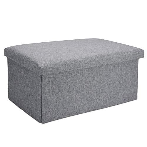 Intirilife Faltbare Sitzbank 78x38x38 cm in Alaska GRAU - Sitzwürfel mit Stauraum und Deckel aus Stoff in Leinen Optik - Sitzcube Fußablage Aufbewahrungsbox Truhe Sitzhocker