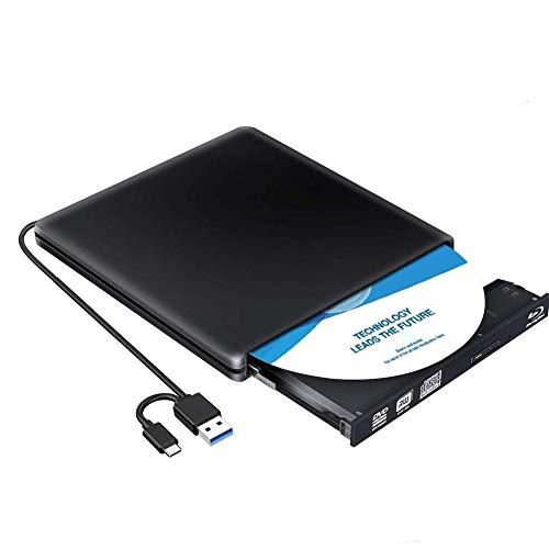 Lecteur Graveur Blu Ray Externe CD DVD 3D ,USB 3.0/Type-C Portable Lecteur Blu-Ray Slim BD CD DVD-ROM ROM Compatible pour PC Mac OS Windows 7/8 /10 /XP/Linxus(Noir)