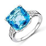 Miore Damen Weißgold Topas Verlobungsring 9KT (375) mit Diamant Brillanten 0.13 ct