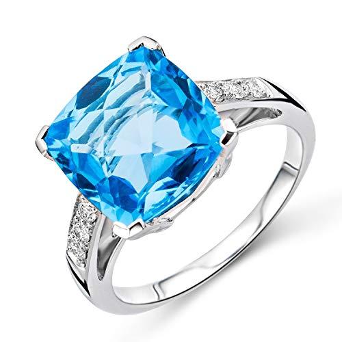 Miore - Anello di fidanzamento in oro bianco 9 kt con topazio e diamanti da 0,13 kt e oro bianco a 9 carati, 56 (17.8), cod. M9127R6