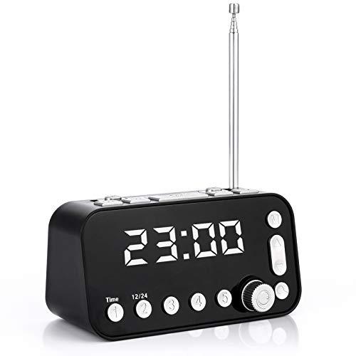 Bedside Alarm Clock Radio, Dyna-Living Upgraded Digital DAB FM Radio Alarm Clock with Antenna Dual USB Charging Ports Sleep Timer 3 Step Dimmable Display Dual Alarm Setting Optional Alarm Sounds