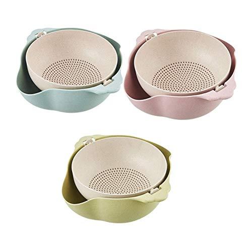 Colador/colador de Cocina multifunción 2 en 1, Paquete de 3 coladores de colador Desmontables de Doble Capa, Lavabo Giratorio y Cesta