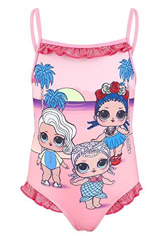 Characters Cartoons LOL Surprise - Costume Intero 1 Pezzo Mare Piscina - Bambina - Prodotto Originale con Licenza Ufficiale [1822 Rosa - 6 Anni]