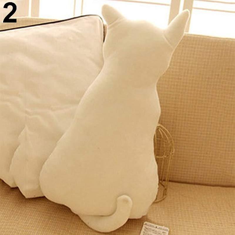 Aland Cute Cat Soft Plush Back Shadow Toy Sofa Pillow Seat Cushion Birthday Gift White 30 Cm