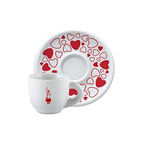 Bialetti Y0TZ100 Cappuccinotasse, Weiß und Rot
