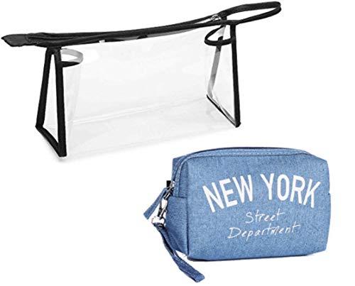 Set 1 Pochette'New York' + 1 Busta Trasparente Aereo, Kit Buste Organizer da Viaggio, DK Italy, Porta Accessori, Liquidi, Trucchi, Cosmetici, Astucci, Donna (New York 1)