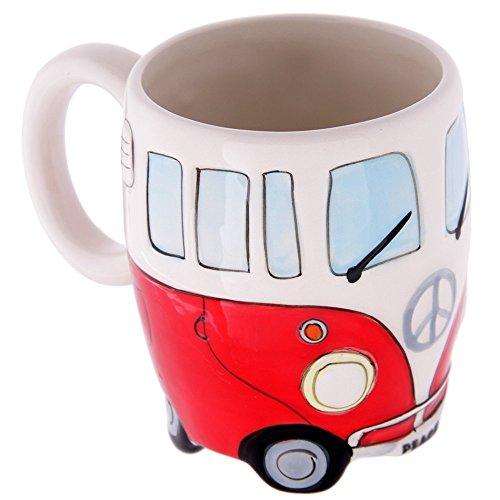 Volkswagen - Red Ceramic Shaped Coffee Mug / Cup (VW Camper Van / Bully / T1)