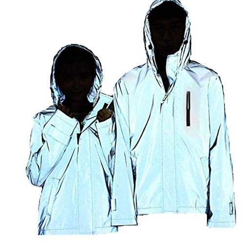 Leeafly Outdoorjacken Wasserdichter, Reflektierende Jacke Herren/Damen Harajuku Windbreaker Jacken Hooded Streetwear Coat Outdoor-Sportmantel Frü Herbst Winter(M,Rosso)