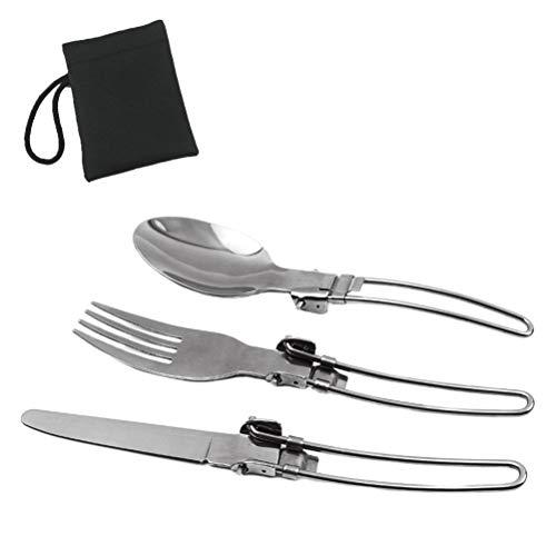 Hihey Outdoor Geschirr DREI teiliges Edelstahl Klappmesser und Gabel Löffel Camping Picknick Utensilien Reise Besteck Set Gebrauch bequem mit Nylontasche