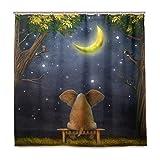 Mr.Brilliant Elefant Duschvorhang Mond Bäume niedliche Tiere Badvorhang-Set Wasserdicht mit 12 Haken für Badezimmer Dekor 182,9 x 182,9 cm 2060994