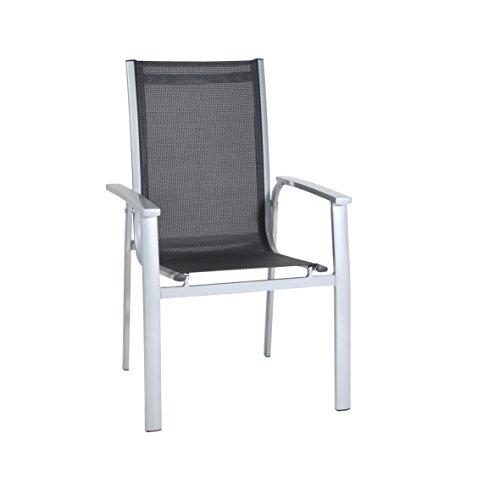 greemotion Stapelsessel Monza silber/schwarz, Sitzmöglichkeit für In- und Outdoor, platzsparender Terassenstuhl, Stuhl aus pflegeleichtem Material, flexibles Gewebe, witterungsbeständig, Sitzmaße : ca. 44 x 44 x 44 cm