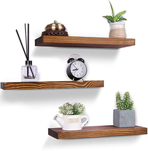 Rustic Wood Floating Shelves Wall Mounted Farmhouse Wooden Wall Shelf for Bathroom Kitchen Bedroom Living Room Set of 3 Light Brown