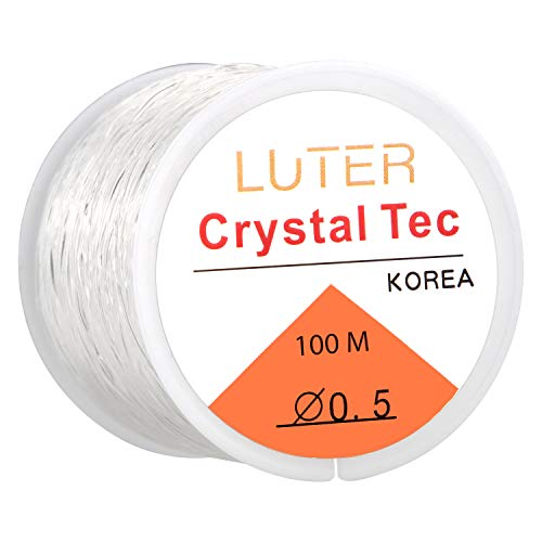 LUTER 0.5mm Clear Bead Cord Crystal Elastic Stretchy Bracelet String for Jewelry Making Necklace Bracelet Beading Thread(328ft)