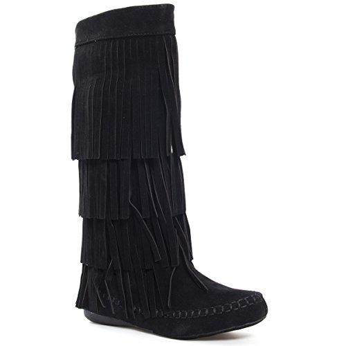 V-Luxury Womens 28-MUDD55 Closed Toe Mid Calf Knee High Mocassin Flat Boot, Black Faux Suede, 8 B (M) US