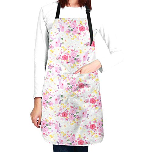 CUAJH Adjustable Bib Apron for Men Women Chef, Waterproof with 2 Pockets Cooking Kitchen Apron for Thanksgiving Christmas, Traditional Afro Woman with Scarf Pattern