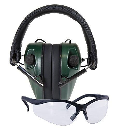 Caldwell E-Max Low Profile Electronic 23 NRR Hearing Protection w/ Sound Amplification and Adjustable Earmuffs for Shooting, Hunting and Range, Shooting Glasses