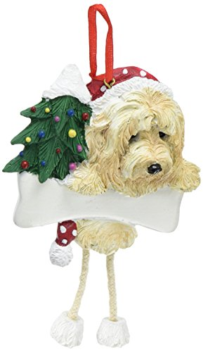 Goldendoodle Ornament with Unique 'Dangling Legs' Hand Painted and Easily Personalized Christmas Ornament
