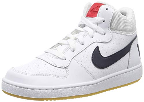 Nike Jungen Court Borough MID (GS) Basketballschuhe, Weiß (White/Obsidian/Univ Red/Gum Lt Brown 107), 36 1/2 EU