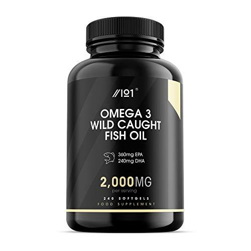 Wild Caught Omega 3 Fish Oil - 2000mg - 360mg EPA 240mg DHA - 240 Softgels - No Additives — Non-GMO, Gluten Free. (1 Pack)