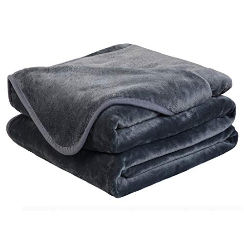 EASELAND Soft King Size Blanket Winter Warm Microplush Lightweight Thermal Fleece Blankets for Couch Bed Sofa,90x108 Inches,Dark Gray