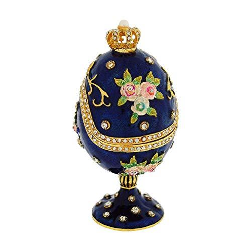 TOC: Joyero en forma de huevo, estilo Fabergé, color azul, con corona