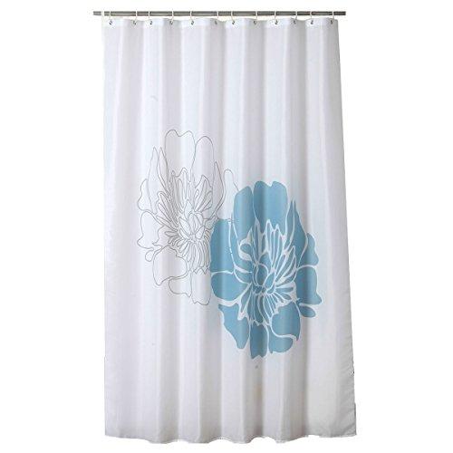 White mildew-free water-repellent tende da doccia per bagno in poliestere lavabile 180x 180cm elegante fiori blu modello senza odori Heavy bordo rinforzato da Pinzz