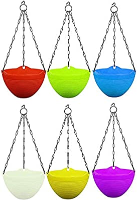 ViMe Plastic Marvel Hanging Pots, Hanging Planters with Metal Hanging Chain - Pack of 6 (7.3 Inch)