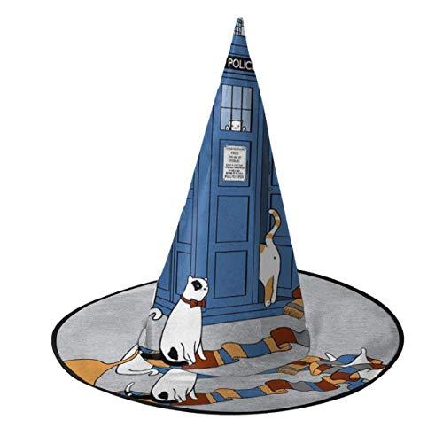 Sombrero de Halloween Viajeros del Tiempo Gatos Doctor Who Tardis Sombrero de Bruja Halloween Disfraz Unisex para Vacaciones Halloween Navidad Carnavales Fiesta
