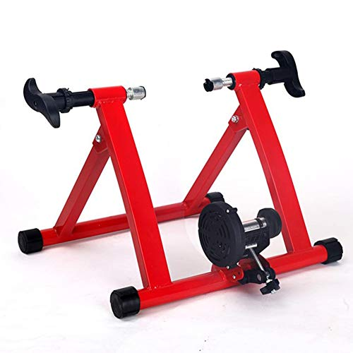 WOGQX Bike Trainer Stand, Cycling Trainer Home Training Indoor Exercise Magnetic Resistances Bike Trainer Fitness Station Foldable Bicycle Trainer Rollers,Red