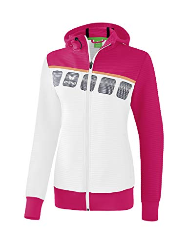 Erima Mädchen 5-C Trainingsjacke mit Kapuze Jacke, weiß/Love Rose/Peach, 152