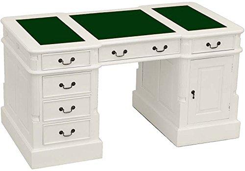 Moreko Schreibtisch Antik-Stil weiß Partnerdesk Mahagoni Holz Arbeitstisch Schreibeinlage grün