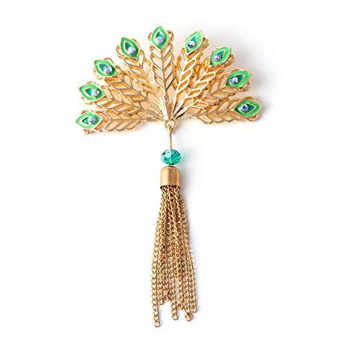 Broche de abanicos de plumas de pavo real esmaltado, broches de borlas...