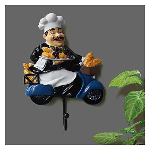 JUNJIJINGXIANG Perchero Ganchos Perchero Perchero Chef Europeo Decoración De La Pared Gancho De La Puerta Gancho Dormitorio Percha De La Pared Cocina Creativa Gancho Retro (Color : B)