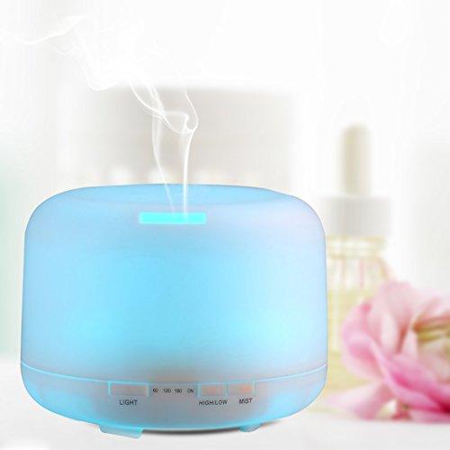 Aromaterapia diffusore ad ultrasuoni cool nebbia umidificatore -500ml Olio essenziale diffusore per l'ufficio, camera da letto, Yoga Baby Room, Bagno By Cootree con opzionale 7 luci cambianti di colore LED, funzione di spegnimento automatico e 4 impostazioni del timer (500ml)