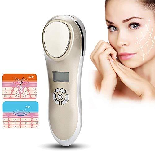 Ultraschall Gesichtsgerät mit Heiß-Kalt Galvanischer Kopf Mesotherapie Lift Massage mit ION Mikro-Strom Radio Frequenz Beauty Machine SPA Kosmetisches Gerät für Gesichtsbehandlung