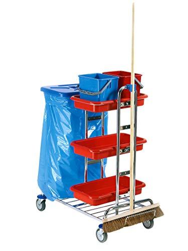 1a Profiline Putzwagen V.2 chrom mit Deckel ohne Wischeinheit Reinigungswagen Abfallsammler Müllsackständer Rollwagen Reinigung Zimmerservicewagen Gebäudereinigung Zubehör Ablagekorb Abfall Profi