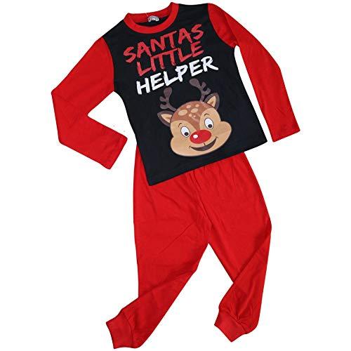 A2Z 4 Kids Unisex Pyjamas Santas Little Helper Reindeer - PJS Rudolph Red_3-4