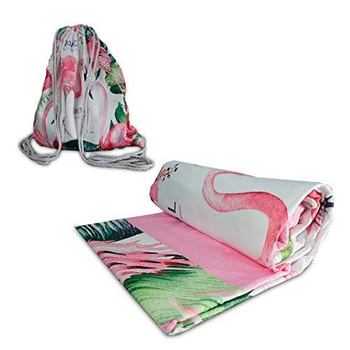 IMAGO Toalla 2 en 1, práctica toalla de playa con función de mochila, toalla de baño, toalla para transformar la mochila en 70 cm x 150 cm (flamenco)