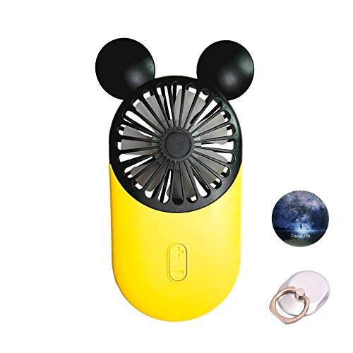 DecoLife Cute Personal Mini Fan, Handheld & Portable USB Rechargeable Fan with Beautiful LED Light, 3 Adjustable Speeds, Finger Holder, Perfect for Indoor or Outdoor Activities, Cute Mouse (Yellow)