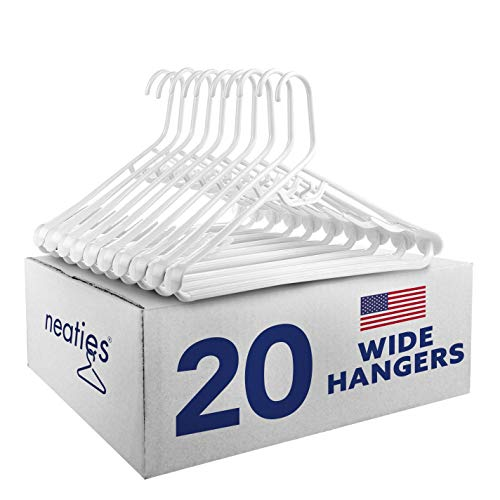Best Wide Shoulder Heavy Duty Plastic Hangers USA Made Strong and Long Lasting Hangers Set of 20
