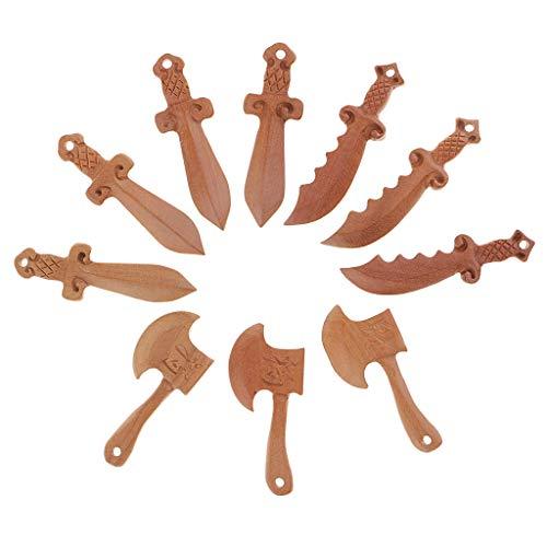 Sharplace 10 pcs Pfirsich Holzperlen mit Loch Holzkugeln Holz perlen Bastelnperlen für DIY