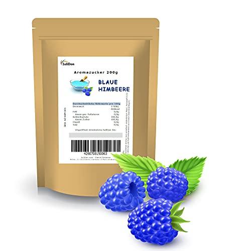 """JuliDon Sabor de azúcar aromático """"frambuesa"""" azul para máquinas de algodón de azúcar, palomitas, cócteles, caramelos, azúcar aromatizado, 1 x 200 g"""