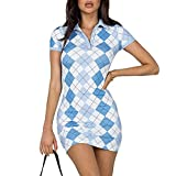Polo Bodycon Dress for Women Short Sleeve V Neck Button Down Dress Floral Argyle Plaid Knitted Mini Dress Y2k Streetwear (Blue, S)