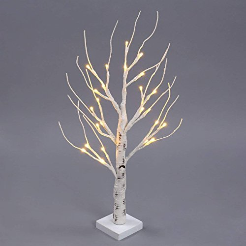 Lighted Birch Tree, 2 FT 24 LEDs Battery Operated Desk Tree Light, Table Centerpiece Decoration,Warm White Bonsai Tree Light, Birch Twig Tree for Home, Party, Birthday, Wedding Indoor Dec (White)